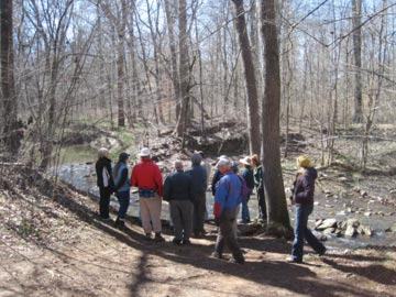 Exploring mill sites at Johnston Mill Nature Preserve
