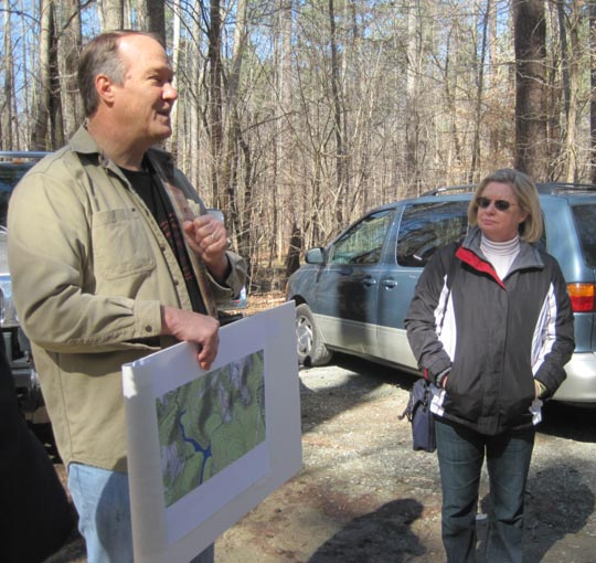 Stewart Dunaway leading the Historical Tour of Johnston Mill Nature Preserve