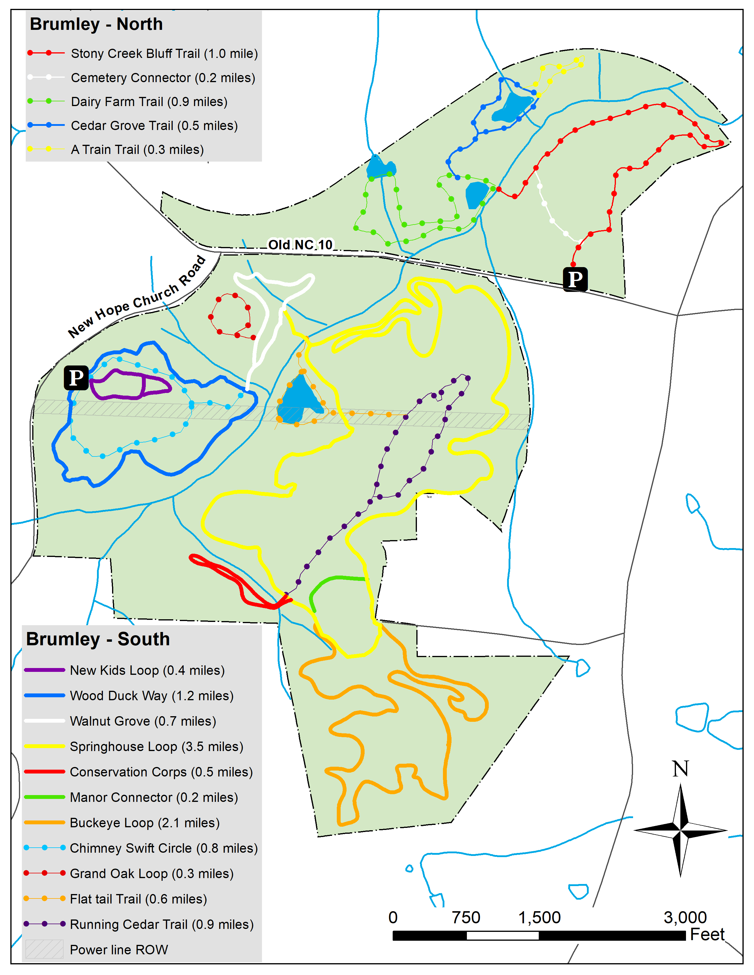 Brumley Nature Preserve Triangle Land Conservancy - At trail map